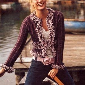 Anthro Monogram Scrappy Fringe Sweater Jacket
